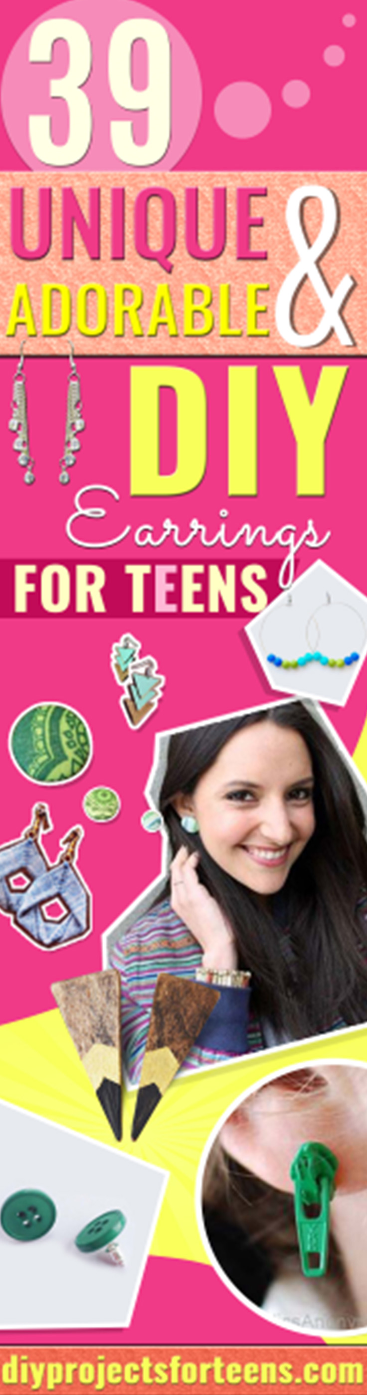 DIY Earrings and Homemade Jewelry Projects -  Easy Studs, Ideas with Beads, Dangle Earring Tutorials, Wire, Feather, Simple Boho, Handmade Earring Cuff, Hoops and Cute Ideas for Teens and Adults http://diyprojectsforteens.com/diy-earrings