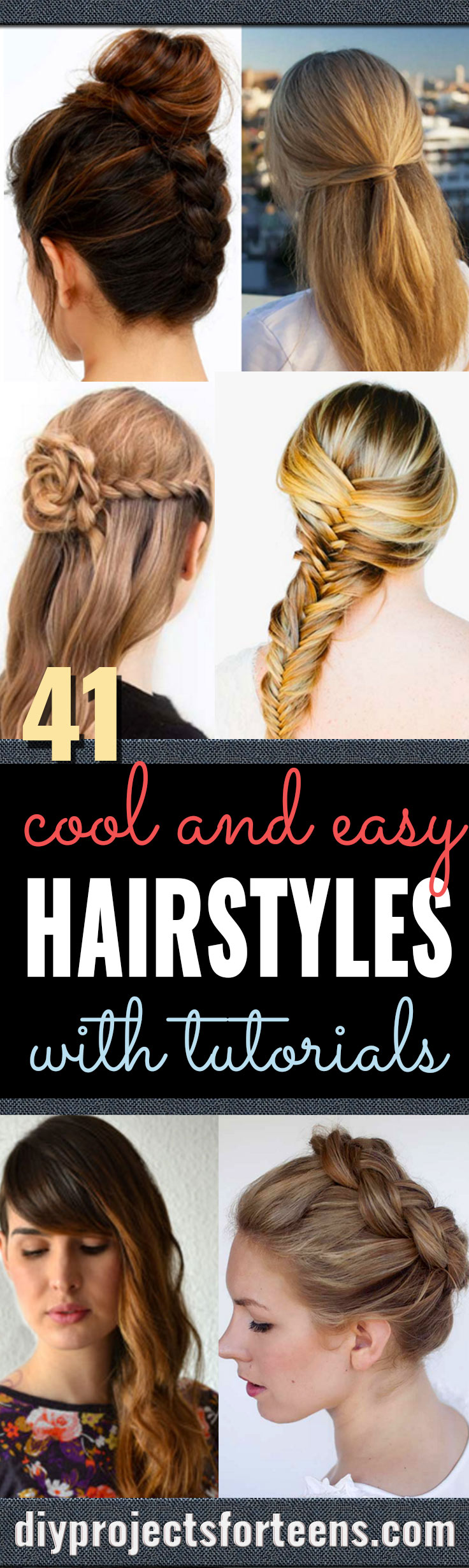 Cool and Easy DIY Hairstyles - Quick and Easy Ideas for Back to School Styles for Medium, Short and Long Hair - Fun Tips and Best Step by Step Tutorials for Teens, Prom, Weddings, Special Occasions and Work. Up dos, Braids, Top Knots and Buns, Super Summer Looks #hairstyles #hair #teens #easyhairstyles #diy #beauty