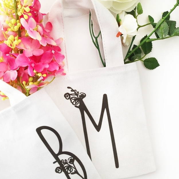 DIY Monogram Projects and Crafts Ideas -Mini Monogrammed Tote Bags- Letters, Wall Art, Mason Jar Ideas, Printables, Stickers, Embroidery Tutorials, Home and Room Decor, Pillows, Shirts and Fashion Tutorials - Fun and Cool Ideas for Teens, Tweens and Adults Make Great DIY Gifts