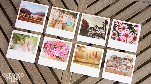 Cool DIY Photo Projects and Craft Ideas for Photos - Polarois Photo Coasters - Easy Ideas for Wall Art, Collage and DIY Gifts for Friends. Wood, Cardboard, Canvas, Instagram Art and Frames. Creative Birthday Ideas and Home Decor for Adults, Teens and Tweens