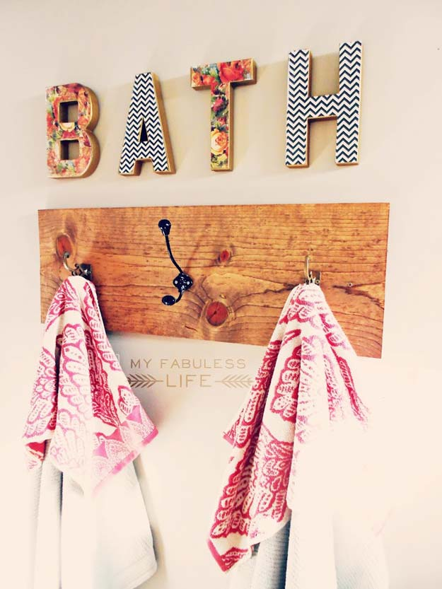DIY Bathroom Decor Ideas for Teens - Towel Rack - Best Creative, Cool Bath Decorations and Accessories for Teenagers - Easy, Cheap, Cute and Quick Craft Projects That Are Fun To Make. Easy to Follow Step by Step Tutorials