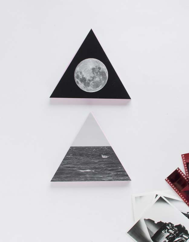 Cool DIY Photo Projects and Craft Ideas for Photos - Wooden Triangle Wall Decorations With Photos - Easy Ideas for Wall Art, Collage and DIY Gifts for Friends. Wood, Cardboard, Canvas, Instagram Art and Frames. Creative Birthday Ideas and Home Decor for Adults, Teens and Tweens