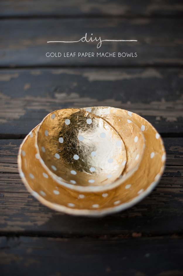 DIY Gifts for Teens - DIY Golf Leaf Paper Mache Bowls - Cool Ideas for Girls and Boys, Friends and Gift Ideas for Teenagers. Creative Room Decor, Fun Wall Art and Awesome Crafts You Can Make for Presents http://diyprojectsforteens.com/diy-gifts-for-teens
