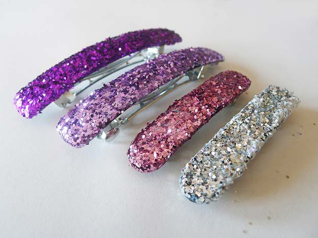 38 Creative DIY Hair Accessories - Glittery Barretes - Create Pretty Hairstyles for Women, Teens and Girls with These Easy Tutorials - Vintage and Boho Looks for Prom and Wedding - Step by Step Instructions for Cool Headbands, Barettes, Pony Tail Holders, Hair Clips, Bobby Pins and Bows http://diyprojectsforteens.com/diy-hair-accessories