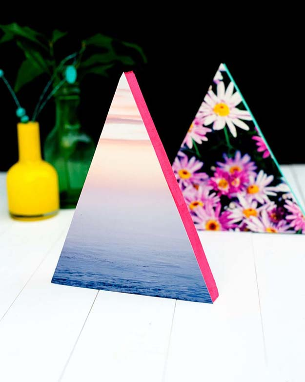 Cool DIY Photo Projects and Craft Ideas for Photos - Neon Triangle Photo Frames - Easy Ideas for Wall Art, Collage and DIY Gifts for Friends. Wood, Cardboard, Canvas, Instagram Art and Frames. Creative Birthday Ideas and Home Decor for Adults, Teens and Tweens