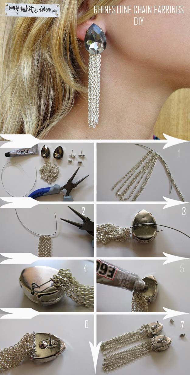 DIY Earrings and Homemade Jewelry Projects - Rhinestones Chain Earrings - Easy Studs, Ideas with Beads, Dangle Earring Tutorials, Wire, Feather, Simple Boho, Handmade Earring Cuff, Hoops and Cute Ideas for Teens and Adults #diygifts #diyteens #teengifts #teencrafts #diyearrings