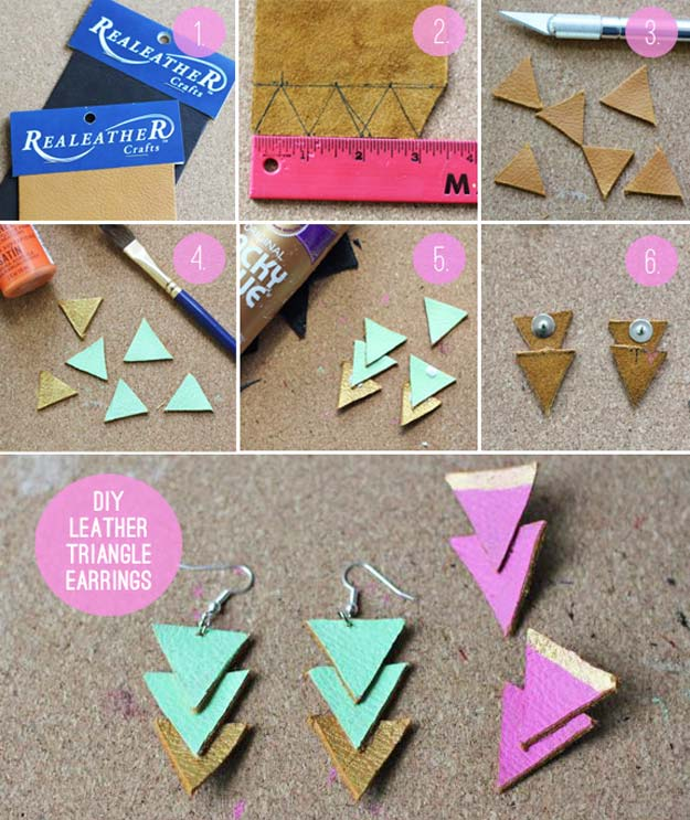 DIY Earrings and Homemade Jewelry Projects - Leather Triangle Earrings - Easy Studs, Ideas with Beads, Dangle Earring Tutorials, Wire, Feather, Simple Boho, Handmade Earring Cuff, Hoops and Cute Ideas for Teens and Adults http://diyprojectsforteens.com/diy-earrings