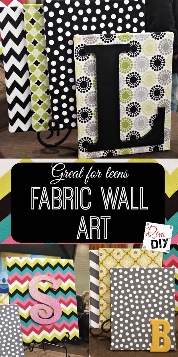 DIY Monogram Projects and Crafts Ideas -Fabric Wall Art on a Dime- Letters, Wall Art, Mason Jar Ideas, Printables, Stickers, Embroidery Tutorials, Home and Room Decor, Pillows, Shirts and Fashion Tutorials - Fun and Cool Ideas for Teens, Tweens and Adults Make Great DIY Gifts