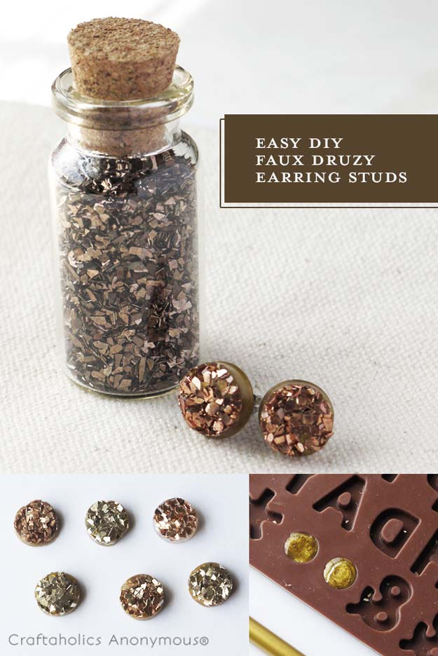DIY Earrings and Homemade Jewelry Projects - Faux Druzy Earrings - Easy Studs, Ideas with Beads, Dangle Earring Tutorials, Wire, Feather, Simple Boho, Handmade Earring Cuff, Hoops and Cute Ideas for Teens and Adults http://diyprojectsforteens.com/diy-earrings