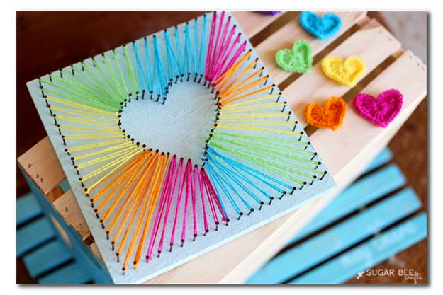 Best DIY Rainbow Crafts Ideas - Heart String Art - Fun DIY Projects With Rainbows Make Cool Room and Wall Decor, Party and Gift Ideas, Clothes, Jewelry and Hair Accessories - Awesome Ideas and Step by Step Tutorials for Teens and Adults, Girls and Tweens http://diyprojectsforteens.com/diy-projects-with-rainbows