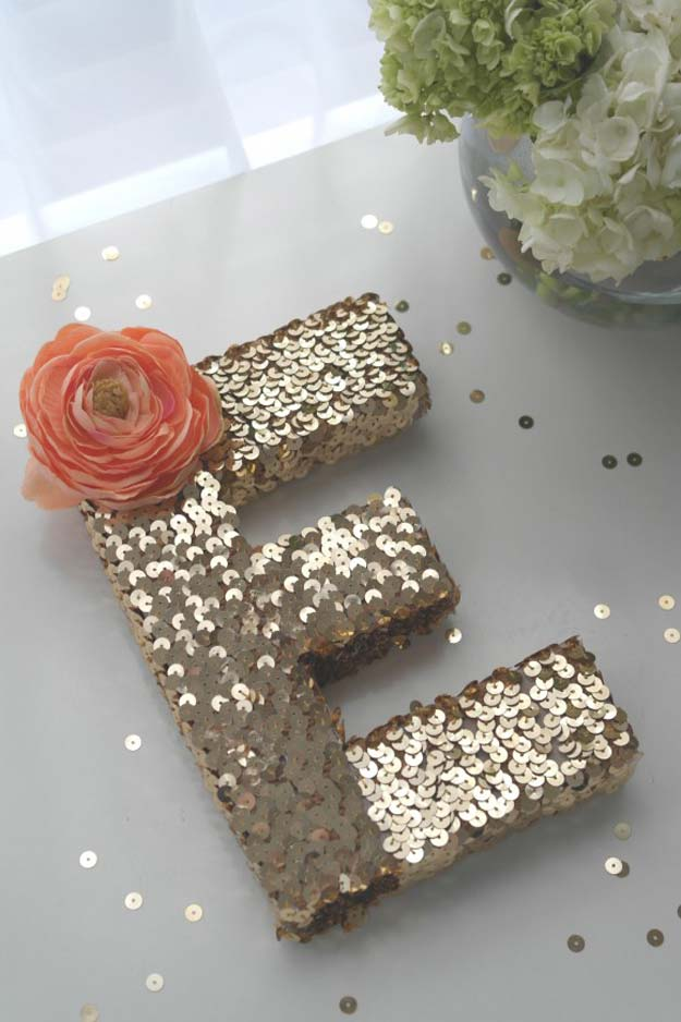 DIY Monogram Projects and Crafts Ideas -Sequin Monogram Letter- Letters, Wall Art, Mason Jar Ideas, Printables, Stickers, Embroidery Tutorials, Home and Room Decor, Pillows, Shirts and Fashion Tutorials - Fun and Cool Ideas for Teens, Tweens and Adults Make Great DIY Gifts