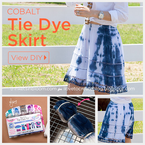 DIY Tie Dye Projects and Crafts - Cobalt and White Tie Dyed Skirt - Cool Tie Dye Ideas for Shirts, Socks, Paint, Sheets, Sharpie, Food and Recipes, Bags, Tshirt and Shoes - Fun Projects and Gifts for Adults, Teens and Teenagers