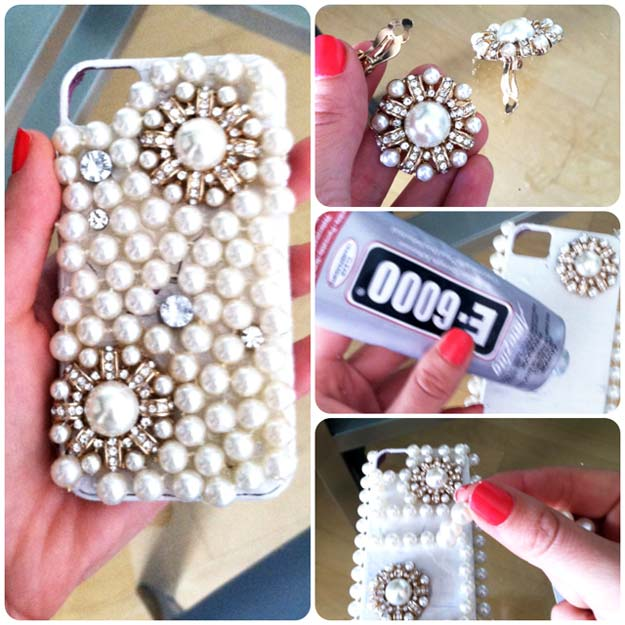 DIY iPhone Case Makeovers - Pearl iPhone Case - Easy DIY Projects and Handmade Crafts Tutorial Ideas You Can Make To Decorate Your Phone With Glitter, Nail Polish, Sharpie, Paint, Bling, Printables and Sewing Patterns - Fun DIY Ideas for Women, Teens, Tweens and Kids