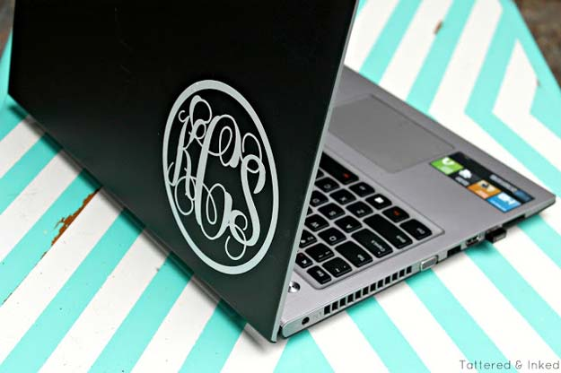 DIY Monogram Projects and Crafts Ideas -Laptop Decal- Letters, Wall Art, Mason Jar Ideas, Printables, Stickers, Embroidery Tutorials, Home and Room Decor, Pillows, Shirts and Fashion Tutorials - Fun and Cool Ideas for Teens, Tweens and Adults Make Great DIY Gifts http://diyprojectsforteens.com/diy-projects-with-monograms