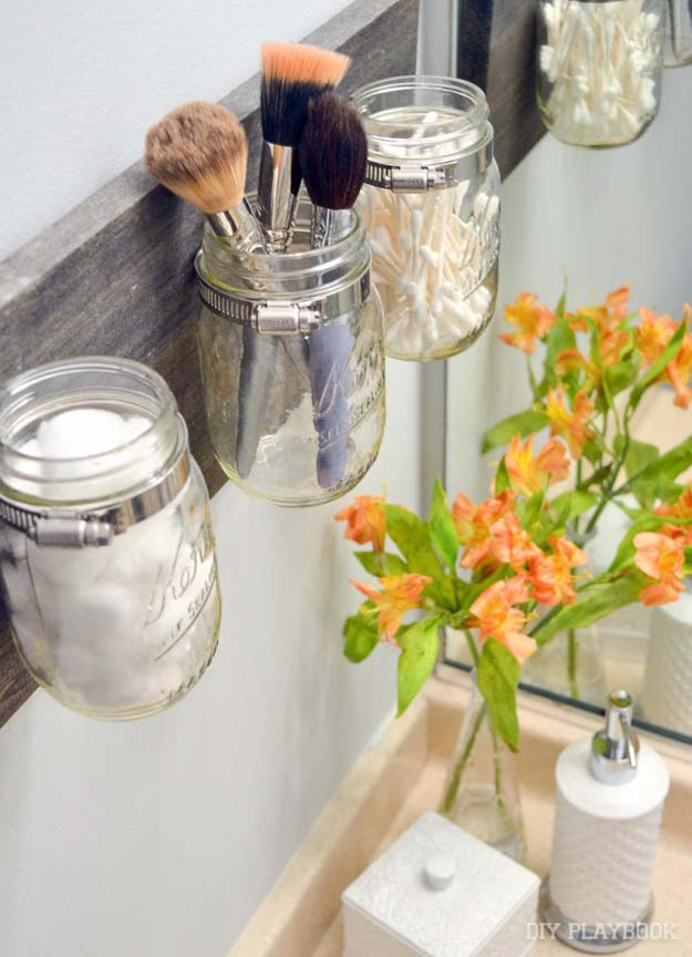 diy bathroom decor ideas for teens mason jar organizer best creative cool bath - Bathroom Accessories Diy