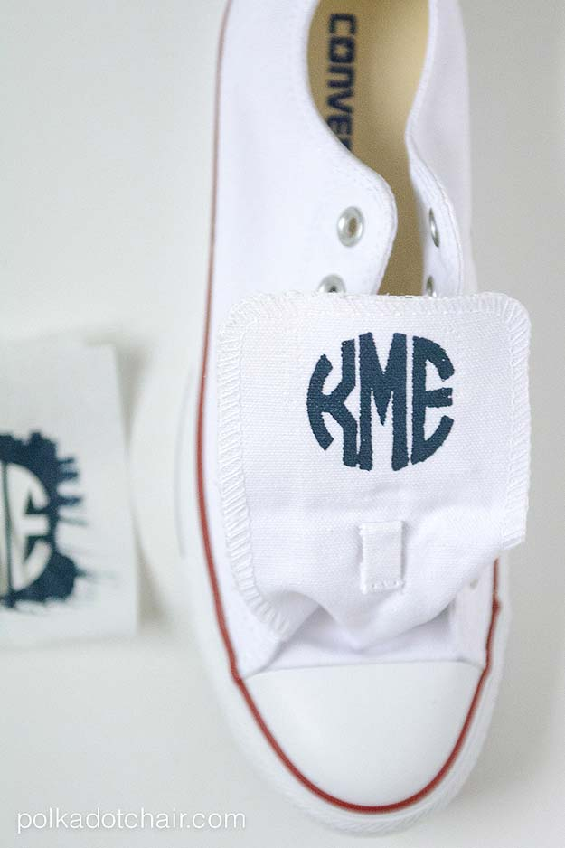 DIY Monogram Projects and Crafts Ideas -Monogrammed Converse Chuck Taylors- Letters, Wall Art, Mason Jar Ideas, Printables, Stickers, Embroidery Tutorials, Home and Room Decor, Pillows, Shirts and Fashion Tutorials - Fun and Cool Ideas for Teens, Tweens and Adults Make Great DIY Gifts