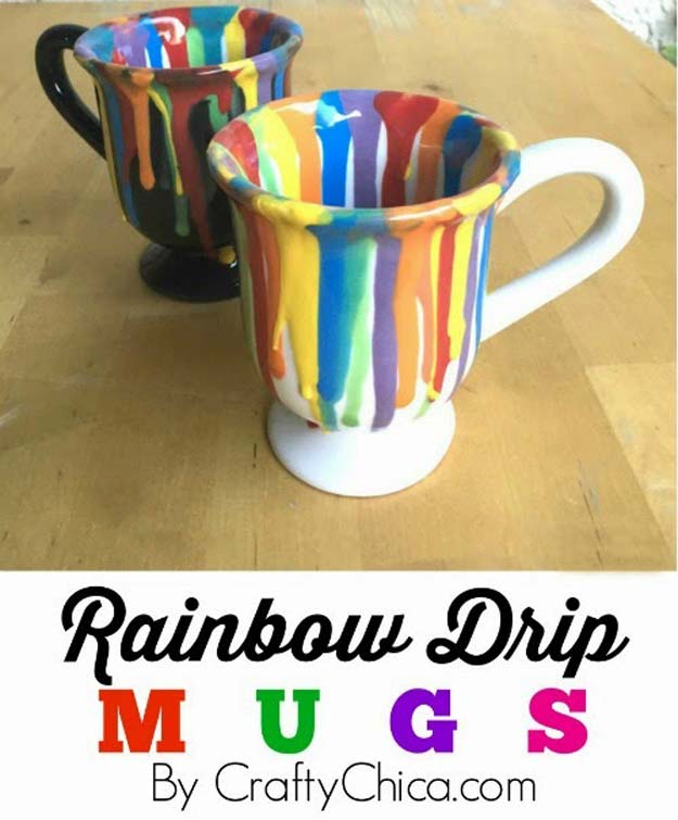 Best DIY Rainbow Crafts Ideas - Rainbow Drip Mugs - Fun DIY Projects With Rainbows Make Cool Room and Wall Decor, Party and Gift Ideas, Clothes, Jewelry and Hair Accessories - Awesome Ideas and Step by Step Tutorials for Teens and Adults, Girls and Tweens http://diyprojectsforteens.com/diy-projects-with-rainbows