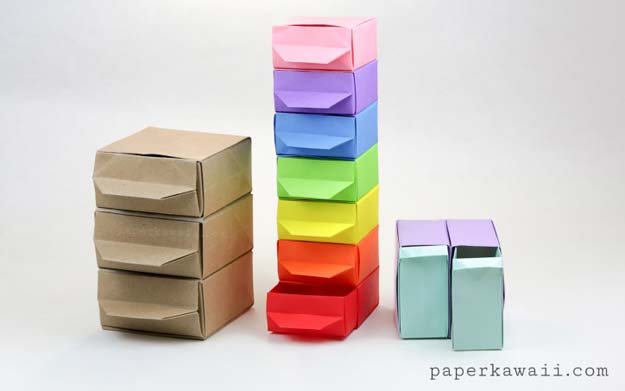 Best DIY Rainbow Crafts Ideas - Origami Chest of Drawers - Fun DIY Projects With Rainbows Make Cool Room and Wall Decor, Party and Gift Ideas, Clothes, Jewelry and Hair Accessories - Awesome Ideas and Step by Step Tutorials for Teens and Adults, Girls and Tweens http://diyprojectsforteens.com/diy-projects-with-rainbows