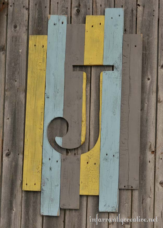DIY Monogram Projects and Crafts Ideas -Weathered Wood Monogram- Letters, Wall Art, Mason Jar Ideas, Printables, Stickers, Embroidery Tutorials, Home and Room Decor, Pillows, Shirts and Fashion Tutorials - Fun and Cool Ideas for Teens, Tweens and Adults Make Great DIY Gifts