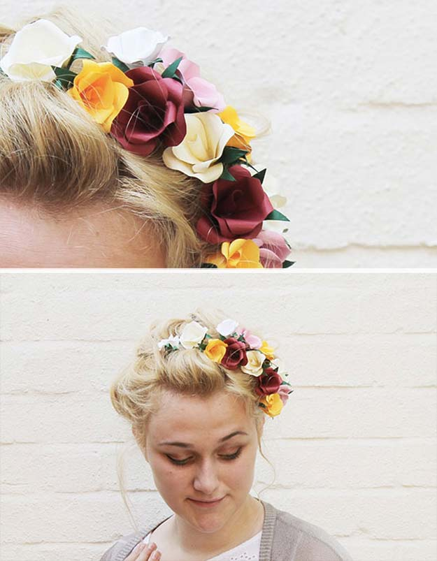 38 Creative DIY Hair Accessories - Paper Flower Hair Accessory - Create Pretty Hairstyles for Women, Teens and Girls with These Easy Tutorials - Vintage and Boho Looks for Prom and Wedding - Step by Step Instructions for Cool Headbands, Barettes, Pony Tail Holders, Hair Clips, Bobby Pins and Bows