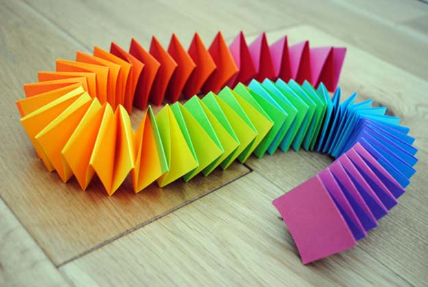 Best DIY Rainbow Crafts Ideas - Folded Paper Garland - Fun DIY Projects With Rainbows Make Cool Room and Wall Decor, Party and Gift Ideas, Clothes, Jewelry and Hair Accessories - Awesome Ideas and Step by Step Tutorials for Teens and Adults, Girls and Tweens http://diyprojectsforteens.com/diy-projects-with-rainbows