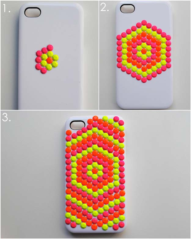DIY iPhone Case Makeovers - Neon Studded Phone Case - Easy DIY Projects and Handmade Crafts Tutorial Ideas You Can Make To Decorate Your Phone With Glitter, Nail Polish, Sharpie, Paint, Bling, Printables and Sewing Patterns - Fun DIY Ideas for Women, Teens, Tweens and Kids