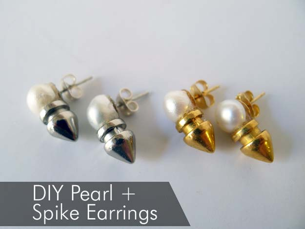 DIY Earrings and Homemade Jewelry Projects - Spike and Pearl Earrings - Easy Studs, Ideas with Beads, Dangle Earring Tutorials, Wire, Feather, Simple Boho, Handmade Earring Cuff, Hoops and Cute Ideas for Teens and Adults #diygifts #diyteens #teengifts #teencrafts #diyearrings