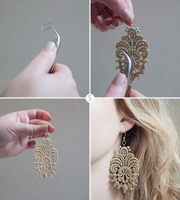 DIY Earrings and Homemade Jewelry Projects - Lace Earrings - Easy Studs, Ideas with Beads, Dangle Earring Tutorials, Wire, Feather, Simple Boho, Handmade Earring Cuff, Hoops and Cute Ideas for Teens and Adults #diygifts #diyteens #teengifts #teencrafts #diyearrings