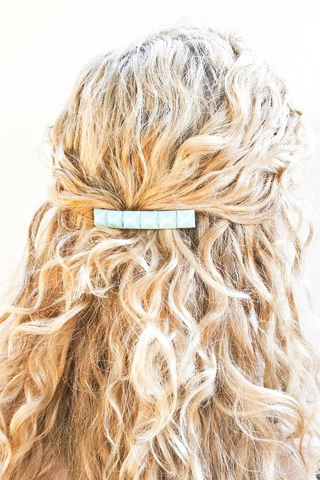 38 Creative DIY Hair Accessories - Studded Barrete - Create Pretty Hairstyles for Women, Teens and Girls with These Easy Tutorials - Vintage and Boho Looks for Prom and Wedding - Step by Step Instructions for Cool Headbands, Barettes, Pony Tail Holders, Hair Clips, Bobby Pins and Bows