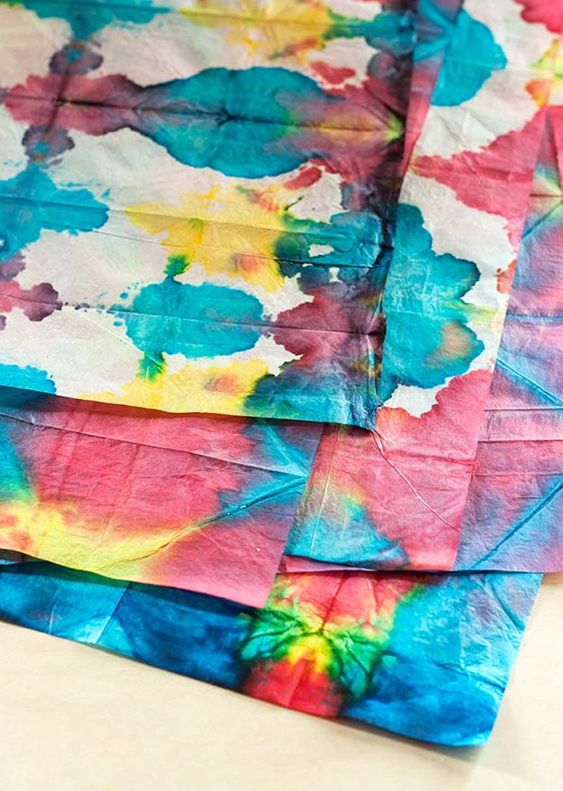 DIY Gifts for Teens - Tie-Dye Tissue Paper - Cool Ideas for Girls and Boys, Friends and Gift Ideas for Teenagers. Creative Room Decor, Fun Wall Art and Awesome Crafts You Can Make for Presents