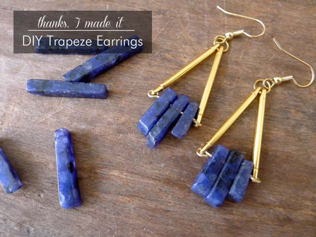 DIY Earrings and Homemade Jewelry Projects - Trapeze Earrings - Easy Studs, Ideas with Beads, Dangle Earring Tutorials, Wire, Feather, Simple Boho, Handmade Earring Cuff, Hoops and Cute Ideas for Teens and Adults http://diyprojectsforteens.com/diy-earrings