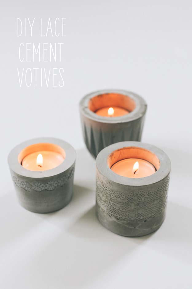DIY Gifts for Teens - Laced Cement Votive - Cool Ideas for Girls and Boys, Friends and Gift Ideas for Teenagers. Creative Room Decor, Fun Wall Art and Awesome Crafts You Can Make for Presents http://diyprojectsforteens.com/diy-gifts-for-teens