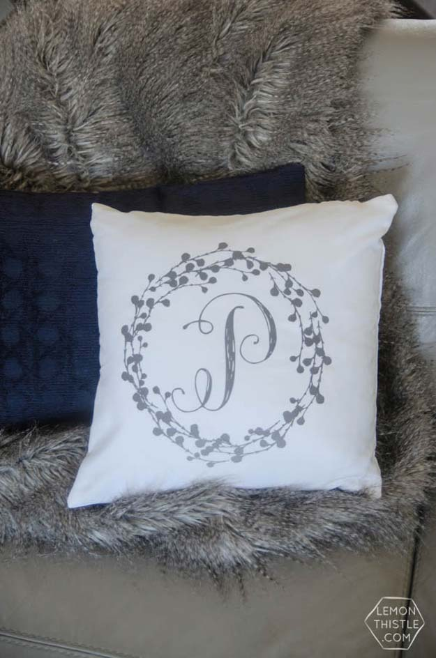DIY Monogram Projects and Crafts Ideas -Monogram Pillow Tutorial- Letters, Wall Art, Mason Jar Ideas, Printables, Stickers, Embroidery Tutorials, Home and Room Decor, Pillows, Shirts and Fashion Tutorials - Fun and Cool Ideas for Teens, Tweens and Adults Make Great DIY Gifts