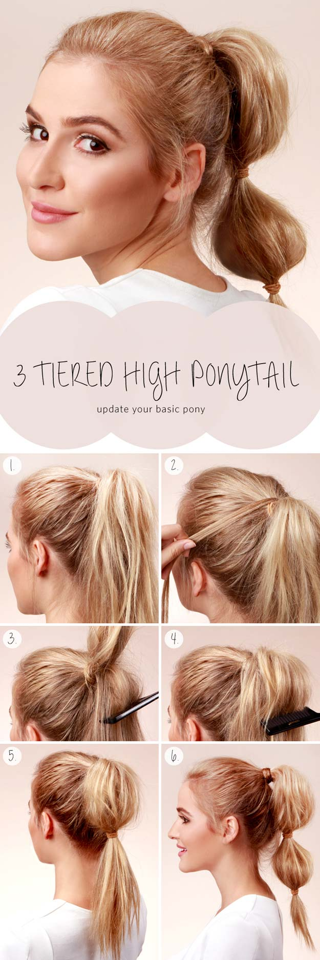 Best Hairstyles for Long Hair - Three Tiered High Ponytail- Step by Step Tutorials for Easy Curls, Updo, Half Up, Braids and Lazy Girl Looks. Prom Ideas, Special Occasion Hair and Braiding Instructions for Teens, Teenagers and Adults, Women and Girls http://diyprojectsforteens.com/best-hairstyles-long-hair