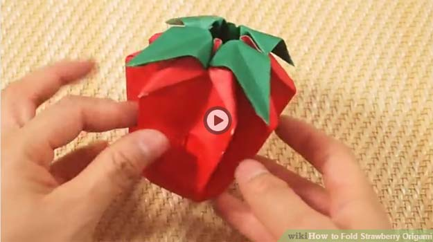Best Origami Tutorials - Strawberry Origami - Easy DIY Origami Tutorial Projects for With Instructions for Flowers, Dog, Gift Box, Star, Owl, Buttlerfly, Heart and Bookmark, Animals - Fun Paper Crafts for Teens, Kids and Adults #origami #crafts