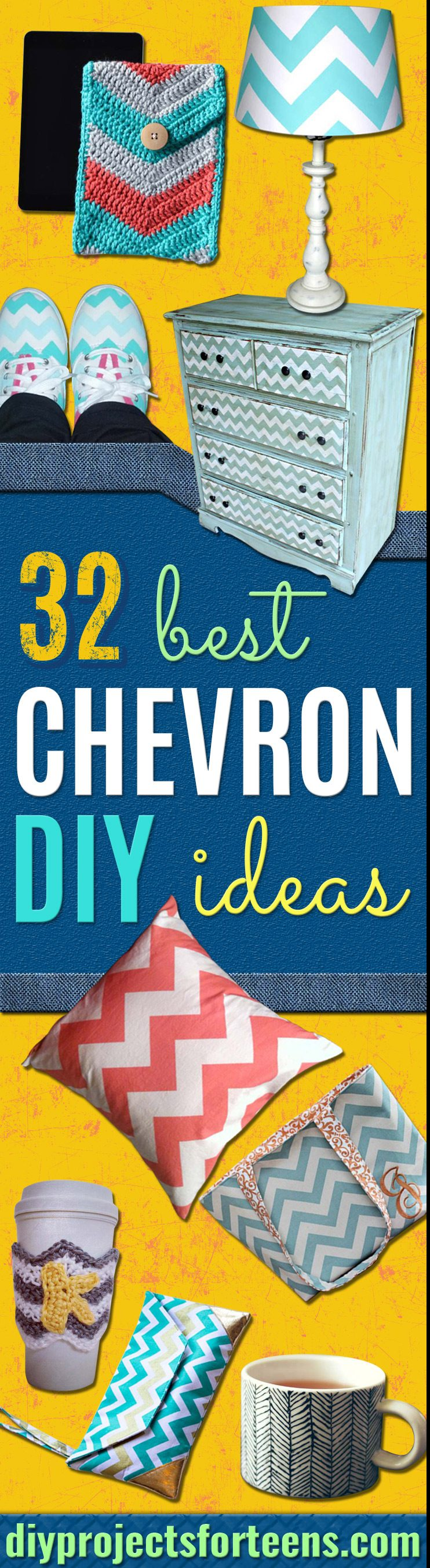 Best DIY Chevron Projects - DIY Wall Art, Home and Room Decor, Canvas Crafts With Chevrons, Furniture and Chairs, Decorations With Paint Ideas Using Chevron Patterns for Bedroom, Bathroom and Teens Rooms. Learn How To Tape Chevron Art With Easy To Follow Step by Step Tutorials