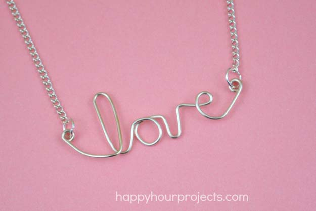 Best DIY Ideas from Tumblr - DIY Easy Wire LOVE Necklace - Crafts and DIY Projects Inspired by Tumblr are Perfect Room Decor for Teens and Adults - Fun Crafts and Easy DIY Gifts, Clothes and Bedroom Project Tutorials for Teenagers and Tweens http://diyprojectsforteens.com/diy-projects-tumblr