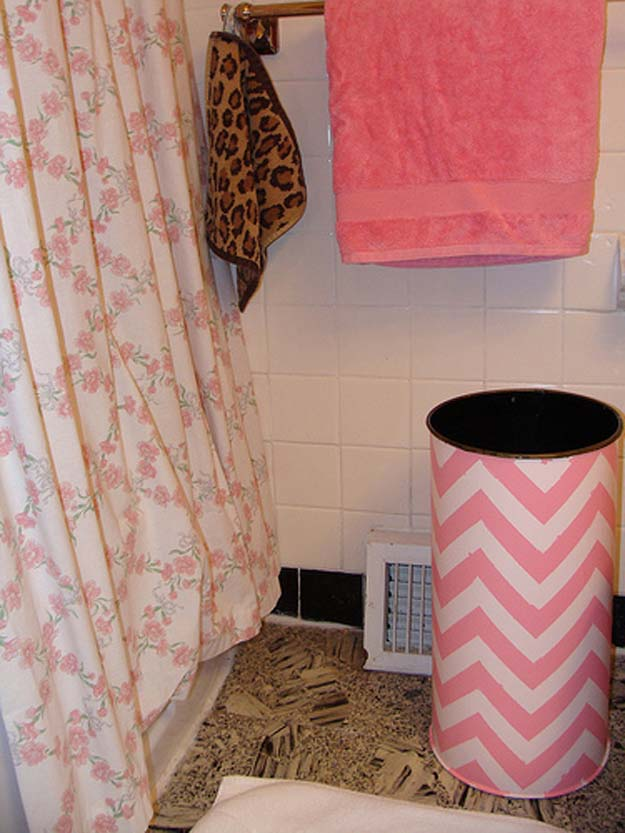 Best DIY Chevron Projects - DIY Chevron Pink Trashcan - DIY Wall Art, Home and Room Decor, Canvas Crafts With Chevrons, Furniture and Chairs, Decorations With Paint Ideas Using Chevron Patterns for Bedroom, Bathroom and Teens Rooms. Learn How To Tape Chevron Art With Easy To Follow Step by Step Tutorials http://diyprojectsforteens.com/diy-projects-chevron