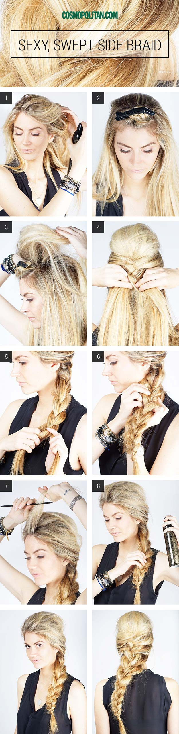 Best Hairstyles for Long Hair - Sexy Swept Side Braid - Step by Step Tutorials for Easy Curls, Updo, Half Up, Braids and Lazy Girl Looks. Prom Ideas, Special Occasion Hair and Braiding Instructions for Teens, Teenagers and Adults, Women and Girls http://diyprojectsforteens.com/best-hairstyles-long-hair