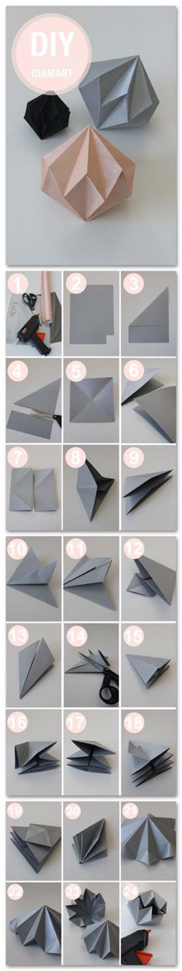 Best Origami Tutorials - Diamant - Easy DIY Origami Tutorial Projects for With Instructions for Flowers, Dog, Gift Box, Star, Owl, Buttlerfly, Heart and Bookmark, Animals - Fun Paper Crafts for Teens, Kids and Adults #origami #crafts