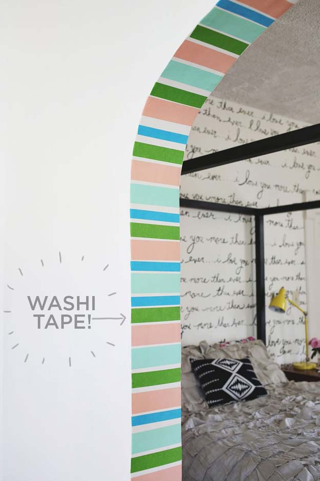 DIY Dorm Room Decor Ideas - Stripe Doorway with Washi Tape - Cheap DIY Dorm Decor Projects for College Rooms - Cool Crafts, Wall Art, Easy Organization for Girls - Fun DYI Tutorials for Teens and College Students #diyideas #roomdecor #diy #collegelife #teencrafts