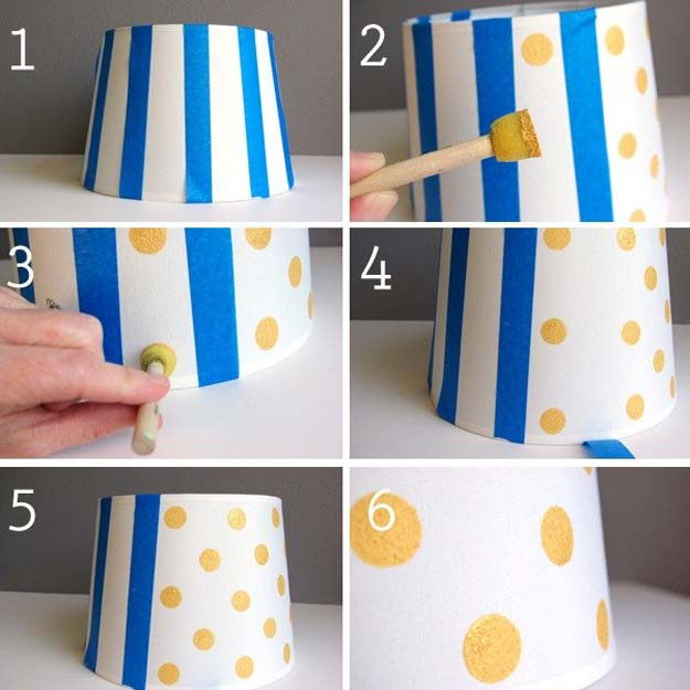 DIY Polka Dot Crafts and Projects - DIY Polka Dot Lamp Shade - Cool Clothes, Room and Home Decor, Wall Art, Mason Jars and Party Ideas, Canvas, Fabric and Paint Project Tutorials - Fun Craft Ideas for Teens, Kids and Adults Make Awesome DIY Gifts