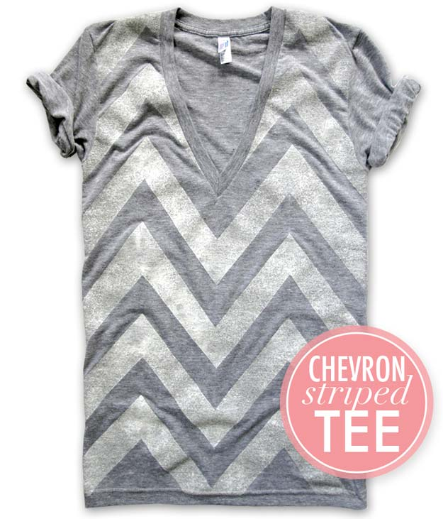Best DIY Chevron Projects - DIY Cheveron V Neck T-shirt - DIY Wall Art, Home and Room Decor, Canvas Crafts With Chevrons, Furniture and Chairs, Decorations With Paint Ideas Using Chevron Patterns for Bedroom, Bathroom and Teens Rooms. Learn How To Tape Chevron Art With Easy To Follow Step by Step Tutorials http://diyprojectsforteens.com/diy-projects-chevron