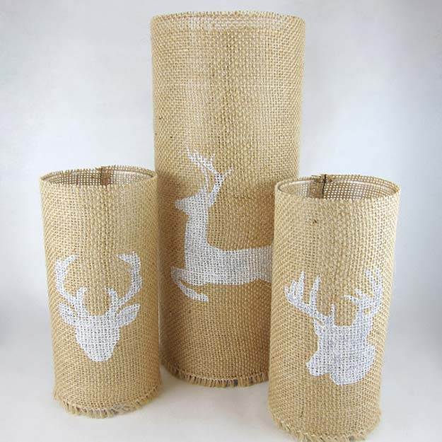 Fun Dollar Store Crafts for Teens - DIY Stenciled Burlap Candleholders - Cheap and Easy DIY Ideas for Teenagers to Make for Dollar Stores - Inexpensive Gifts and Room Decor for Tweens, Boys and Girls - Awesome Step by Step Tutorials with Instructions for Cool DIY Projects http://diyprojectsforteens.com/dollar-store-crafts-teens