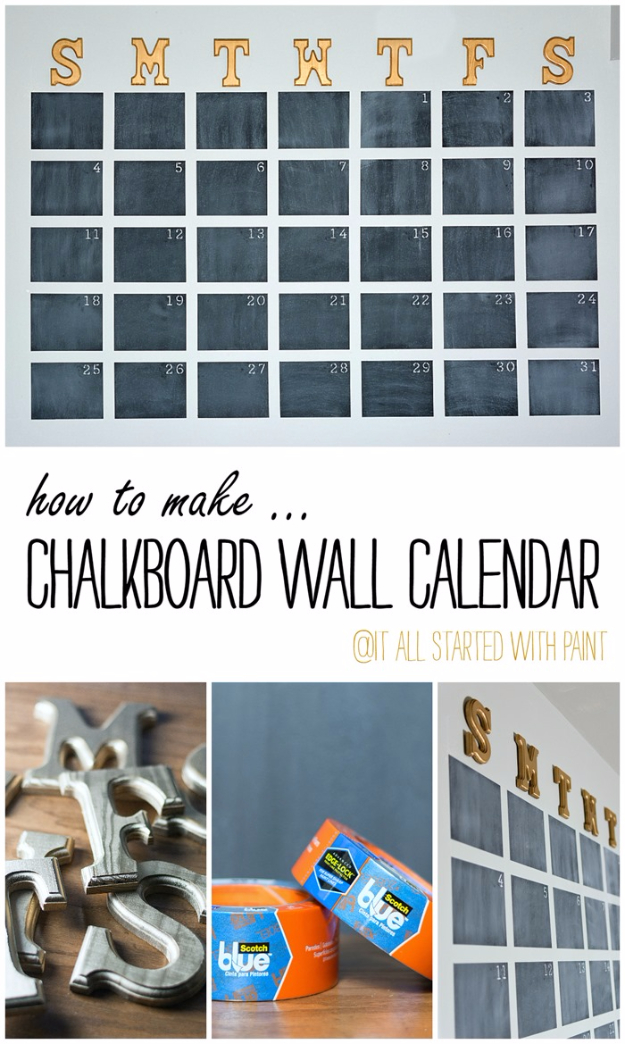 DIY Teen Room Decor Ideas for Girls | Chalkboard Wall Calendar DIY | Cool Bedroom Decor, Wall Art & Signs, Crafts, Bedding, Fun Do It Yourself Projects and Room Ideas for Small Spaces
