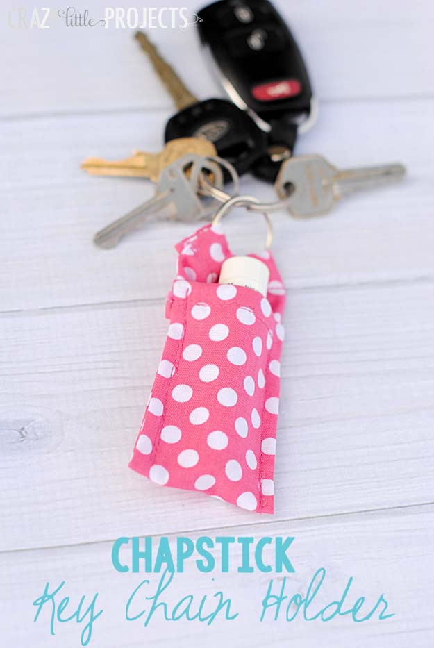 DIY Polka Dot Crafts and Projects - DIY Polka Dot Chapstick Key chain Holder - Cool Clothes, Room and Home Decor, Wall Art, Mason Jars and Party Ideas, Canvas, Fabric and Paint Project Tutorials - Fun Craft Ideas for Teens, Kids and Adults Make Awesome DIY Gifts