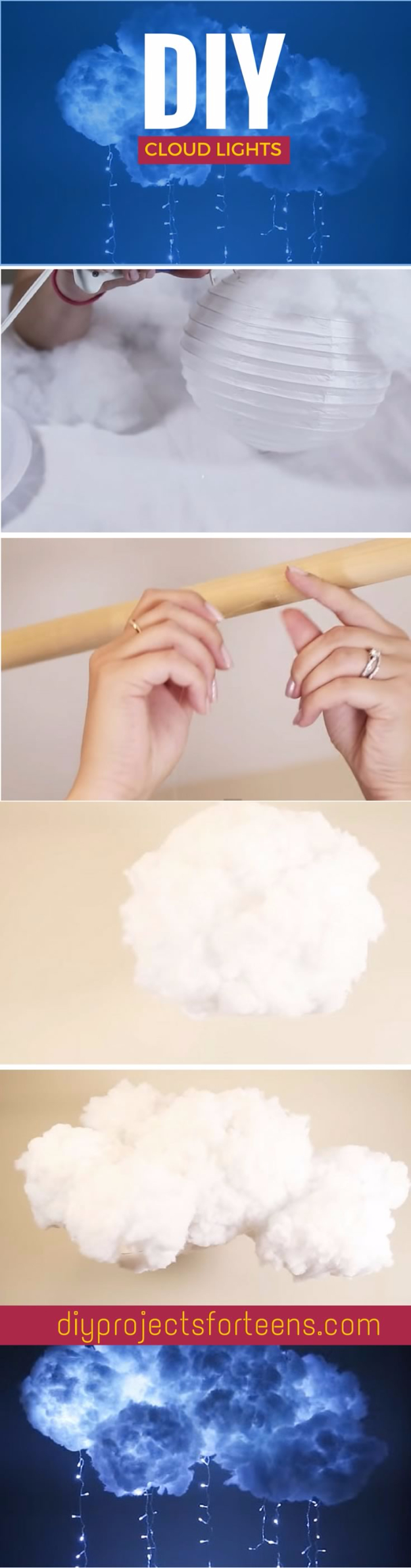 DIY Lighting Ideas for Teen and Kids Rooms - DIY Cloud Light - Fun DIY Lights like Lamps, Pendants, Chandeliers and Hanging Fixtures for the Bedroom plus cool ideas With String Lights. Perfect for Girls and Boys Rooms, Teenagers and Dorm Room Decor