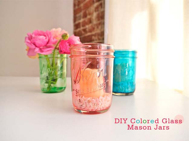 Fun Dollar Store Crafts for Teens - DIY Colored Glass Mason Jars - Cheap and Easy DIY Ideas for Teenagers to Make for Dollar Stores - Inexpensive Gifts and Room Decor for Tweens, Boys and Girls - Awesome Step by Step Tutorials with Instructions for Cool DIY Projects http://diyprojectsforteens.com/dollar-store-crafts-teens
