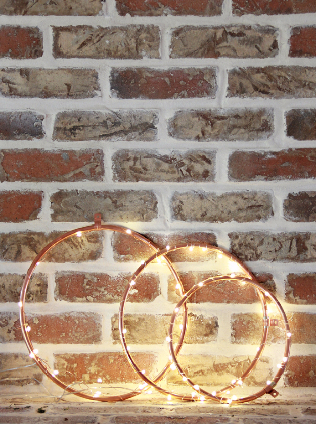 DIY Lighting Ideas for Teen and Kids Rooms -DIY Copper Lighted Wreaths - Fun DIY Lights like Lamps, Pendants, Chandeliers and Hanging Fixtures for the Bedroom plus cool ideas With String Lights. Perfect for Girls and Boys Rooms, Teenagers and Dorm Room Decor