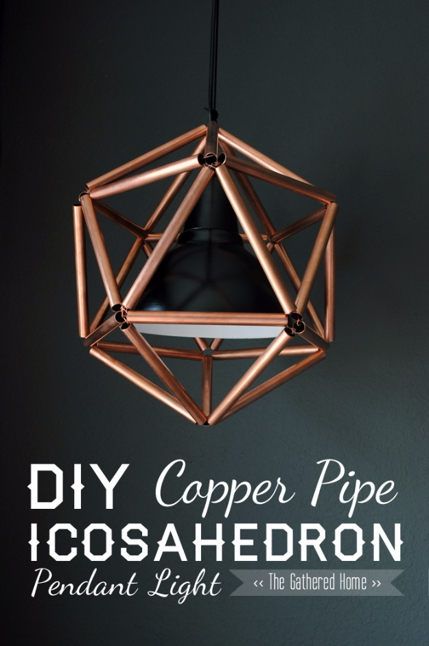 DIY Lighting Ideas for Teen and Kids Rooms - DIY Copper Pipe Icosahedron Pendant Light - Fun DIY Lights like Lamps, Pendants, Chandeliers and Hanging Fixtures for the Bedroom plus cool ideas With String Lights. Perfect for Girls and Boys Rooms, Teenagers and Dorm Room Decor